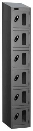 Probe Vision Panel 6 Door Electronic Locking Anti-Stock Theft Locker sloping top fitted silver grey