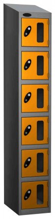 Probe Vision Panel 6 Door Electronic Locking Anti-Stock Theft Locker sloping top fitted yellow