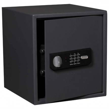Protector Sirius 350E showing safe door open with twin live locking bolts with electronic lock and handle