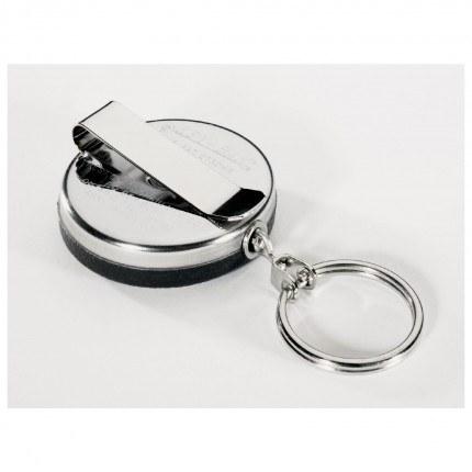 KEY-BAK Spring Clip Key Reel 60cm Steel Chain showing clip