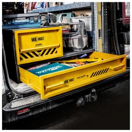 Van Vault Slider Vehicle Security Box with slide out drawer stacked on a slim slider
