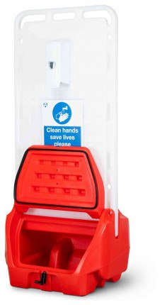 Armorgard Sanistation S20 Mobile Hand Sanitiser Station - open at an angle