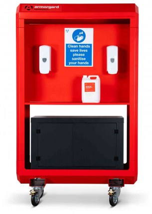 Armorgard Sanistation S40 Mobile Hand Sanitiser Station - optional storage face on