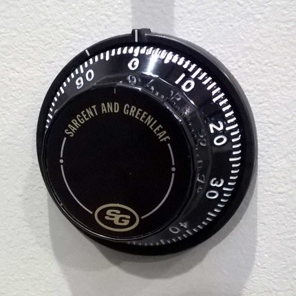 Churchill Floor Safe showing the optional Sargent and Greenleaf 3 wheel dial combination lock