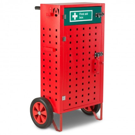 Mobile Fire First Aid Incident Cabinet - Armorgard Safety Kart - Closed