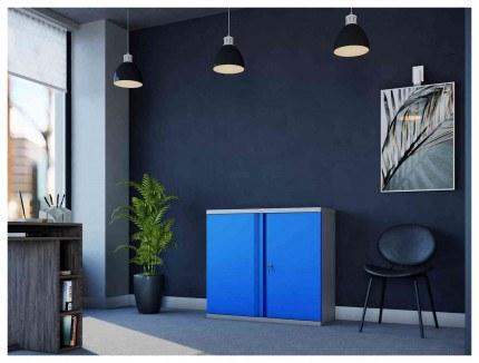 Phoenix SCL0891GBK 2 Door Blue Key Locking Steel Storage Cupboard in use