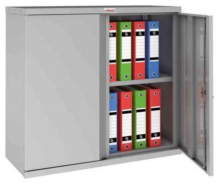 Phoenix SCL0891GGK 2 Door Grey Key Locking Steel Storage Cupboard - open