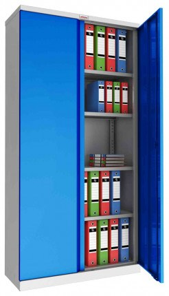 Phoenix SCL1891GBK 2 Door Blue Steel Storage Cupboard | Key Locking - open