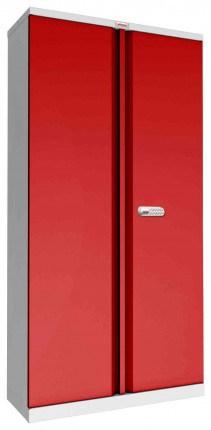Phoenix SCL1891GRE 2 Door Red/Grey Steel Storage Cupboard | Electronic