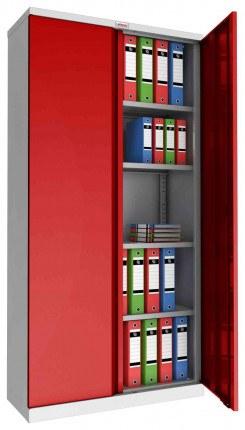 Phoenix SCL1891GRE 2 Door Red/Grey Steel Storage Cupboard | Electronic - open