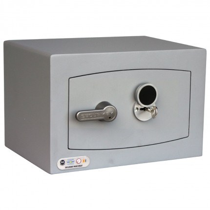 Securikey SFMV0K-S Mini Vault Silver Key Lock Security Safe - door closed with key inserted