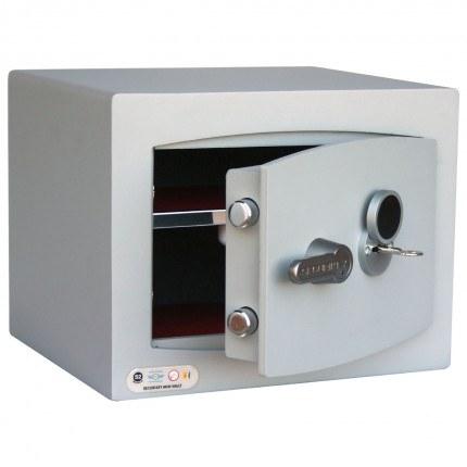 Key Lock Security Safe - Securikey Mini Vault Silver 1K ajar