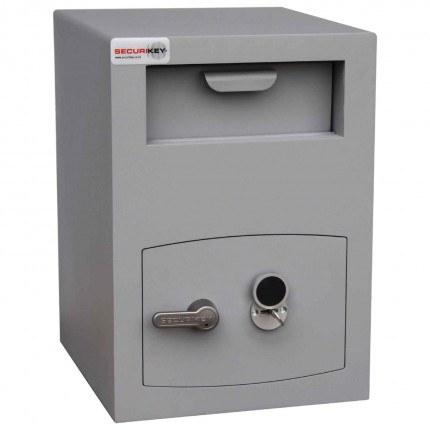 Securikey Mini Vault Silver Deposit Safe 2 Key Lock -  Locked with key in safe door