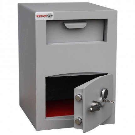 Securikey Mini Vault Silver Deposit Safe 2 Key Lock - safe door ajar