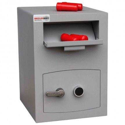 Securikey Mini Vault Silver Deposit Safe 2 Key Lock - deposit drawer open
