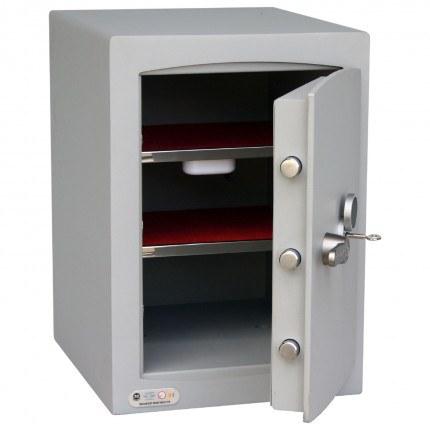 Key Lock Security Safe - Securikey Mini Vault Silver 2K - door ajar