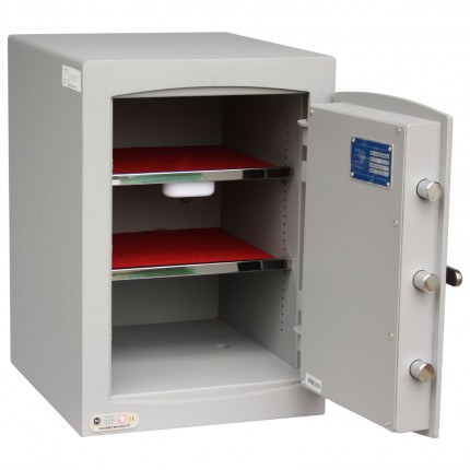 Securikey SFMV2FRZE-G Mini Vault Gold Digital Security Safe - showing interior with 2 shelves
