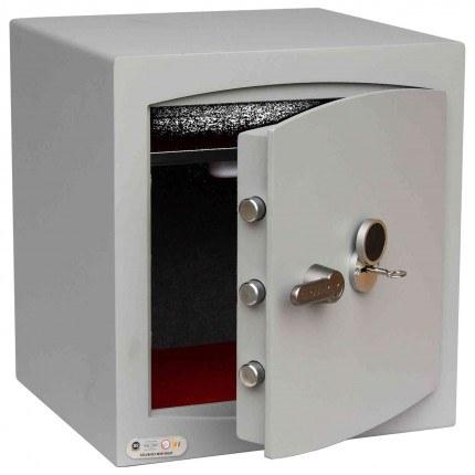 Key Locking Security Safe - Securikey Mini Vault Silver 3K - door ajar