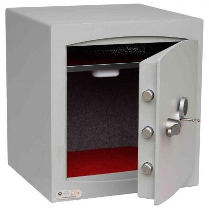 Key Locking Security Safe - Securikey Mini Vault Silver 3K - door wide