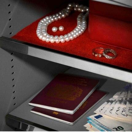 Key Lock Security Safe - Securikey Mini Vault Silver 2K - jewellery shelf