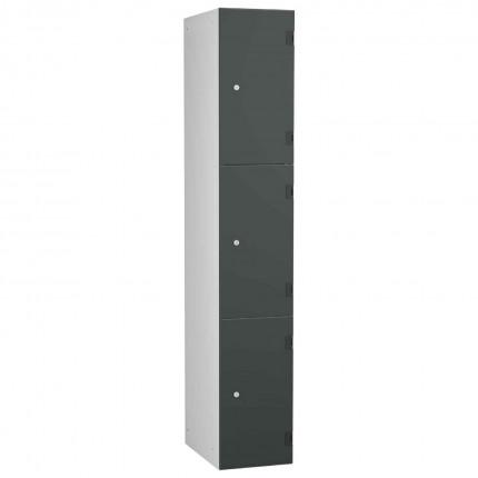 Probe ShockBox Overlay Laminate Door Locker Three Compartments in Dark Grey