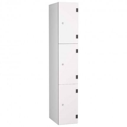 Probe ShockBox Overlay Laminate Door Locker Three Compartments in Pearly White