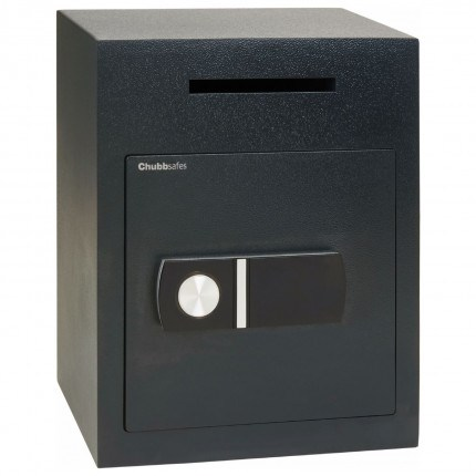 Chubbsafes Sigma Deposit Safe with Letter Slot on the front above the door. Door is shown closed with electronic locking.