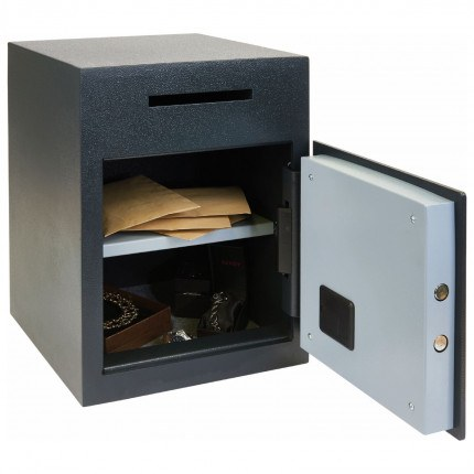 Chubbsafes Sigma Deposit Safe with Letter Slot on the front above the door. Door is shown wide open.