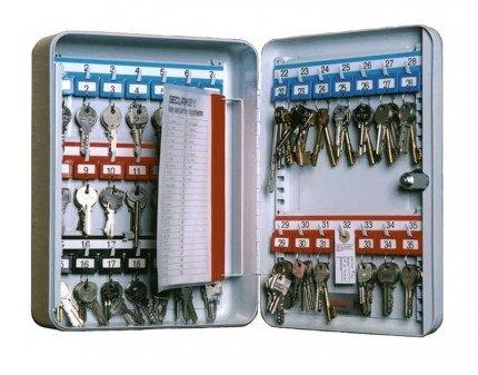 Deep Key Cabinet Key Lock 35 Keys - Securikey KD035K - Colour Coded Hooks