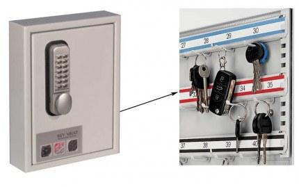Securikey Key Vault KVP024 Digital Mechanical 24 Key Hooks plus internal view