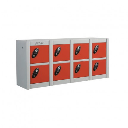 Probe Minibox Mobile Phone Wall/Stacking Locker 8 Doors - Red