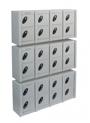 Probe Minibox Mobile Phone Wall/Stacking Locker 8 Doors - Silver Grey