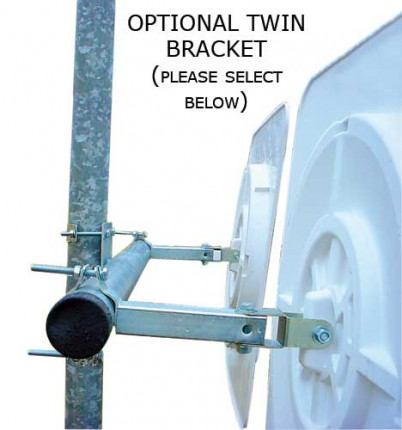 Optional twin bracket in order to fit 2  Vialux 554 Convex Traffic Mirror Red-White Polymir 60x40cm on the same post