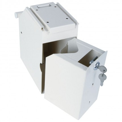 Rear view of Phoenix Under Counter Deposit Safe SS0991KD with removable cash box taken out