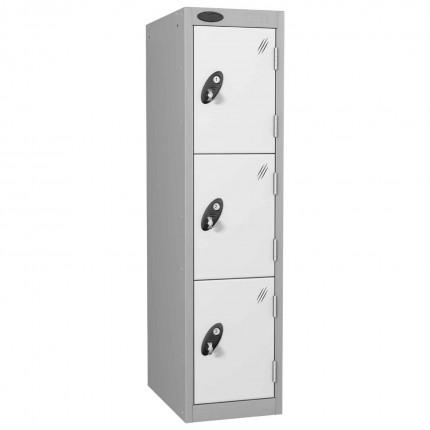 Probe 3 Door Medium Height Storage Locker Latch Hasp Lock - White Doors
