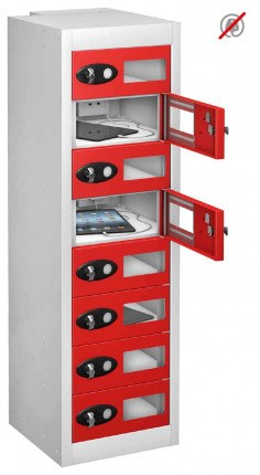 Probe TABBOX 8 Tablet Storage Locker with 8 Vision Doors - red