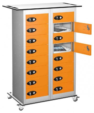 Probe TABBOX 16 Door Charging Storage Trolley in Orange