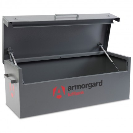 Armorgard TuffBank TB12 open showing 3mm thick lid supported by twin gas struts