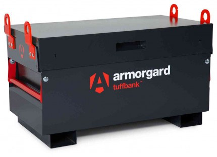 Armorgard Tuffbank TB2 Security Tested Site Tool Storage Box - closed with optional crane lifting eyes