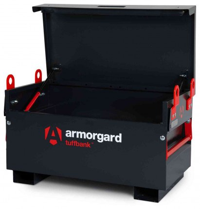 Armorgard Tuffbank TB2 Security Tested Site Tool Storage Box - open with optional crane lifting eyes