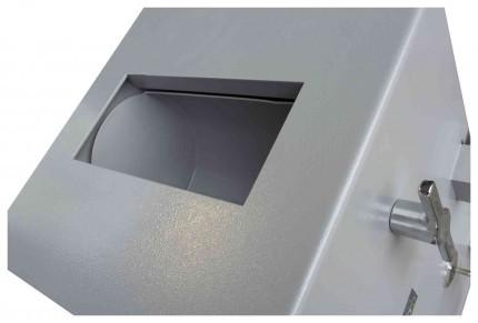 Burton Teller Rotary Drum Deposit Drop Safe Size 1 Key Lock - overhead view of rotary deposit