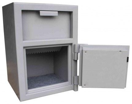 Burton Teller 2E Electronic V-Trap Drawer Deposit Safe - door wide open hopper closed