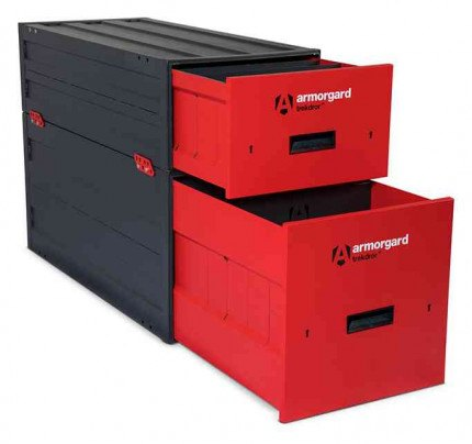 Armorgard Trekdror TKD3 Van Security Tool Storage Locking High Drawer  - with a TKD1 stacked on top