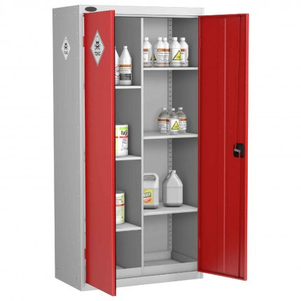 Probe TOX-G Toxic COSHH 8 Compartment Steel Storage Cabinet - doors open