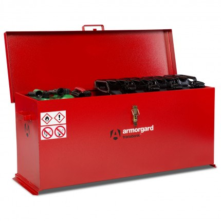 Armorgard Transbank TRB6 Portable Flammable Box 1280mm wide - open with contents