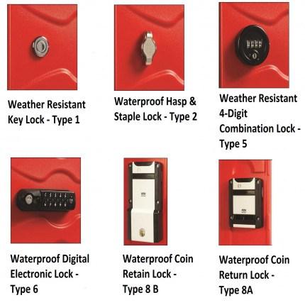 Ultrabox Weather Resistant Plastic Locker Lock Options