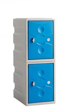 Water Resistant Plastic Locker Low 2 Door - Probe UltraBox - blue doors