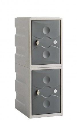 Water Resistant Plastic Locker Low 2 Door - Probe UltraBox - grey doors