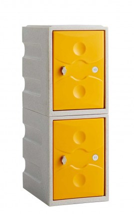 Water Resistant Plastic Locker Low 2 Door - Probe UltraBox - yellow doors