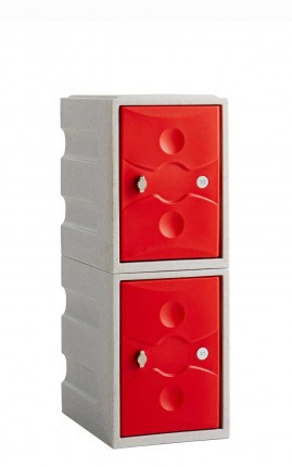 Water Resistant Plastic Locker Low 2 Door - Probe UltraBox - red doors